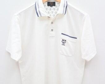 Vintage MCM Legere Michael Cromer München Designer Small Logo White Polo  Shirt Size M eb5b6e62351