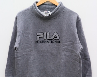 78e72f957fff Vintage FILA International Big Logo Big Spell Sportswear Gray Pullover  Sweater Sweatshirt