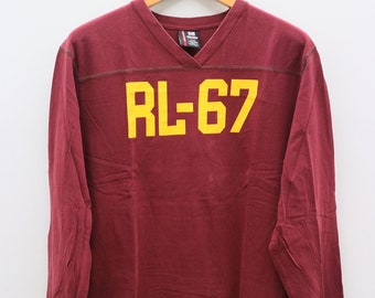 0eea1c3416724 Vintage POLO Ralph Lauren Big RL-67 Logo Polo Jeans Company Red Long  Sleeves Tee T Shirt Size L