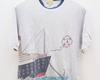 7a67205d Vintage TRUSSARDI Small Logo Small Spell Yacthing Gray Tee T Shirt Size M