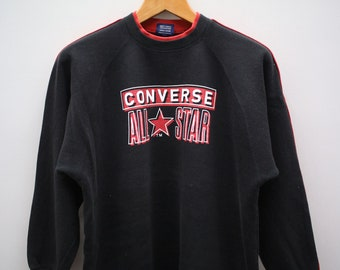cca283594ce9 Vintage CONVERSE All Star Chuck Taylor Big Spell Big Logo Streetswear Black  Pullover Sweater Sweatshirt
