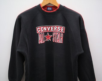 cca283594ce9 Vintage CONVERSE All Star Chuck Taylor Big Spell Big Logo Streetswear Black  Pullover Sweater Sweatshirt