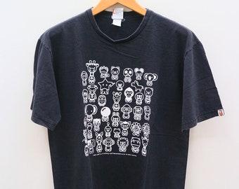 e92b087b Vintage BABY MILO By A Bathing Ape Nowhere Streetwear Black Tee T Shirt  Size L
