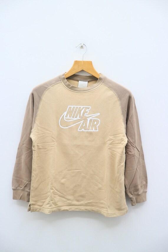 Vintage NIKE AIR Big Spell Big Logo Sportswear Brown Pullover Sweater Sweatshirt Size M