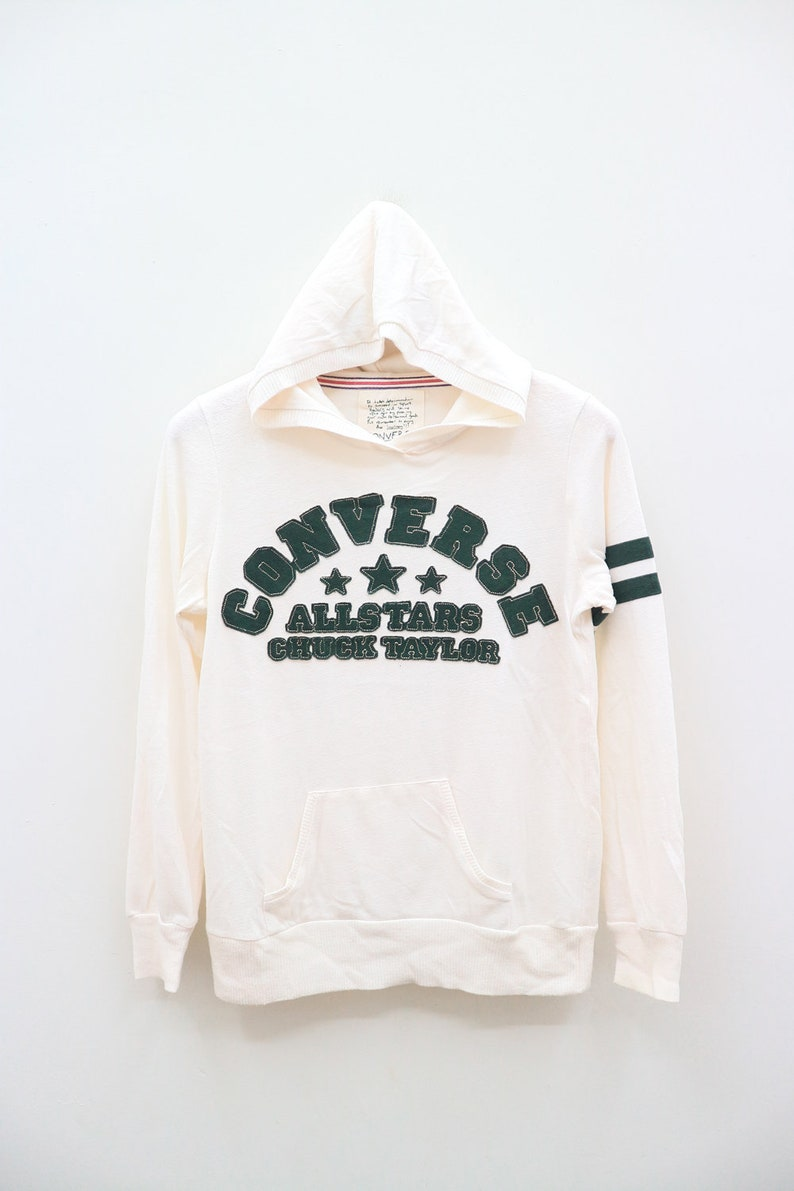 a7e4c955b3551 Vintage CONVERSE All Star Chuck Taylor Embroidery Big Spell Streetswear  White Hoodies Pullover Sweater Sweatshirt Size L