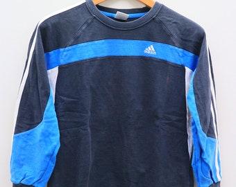 Vintage ADIDAS Small Spell Sportswear Blue Sweater Sweatshirt Size L