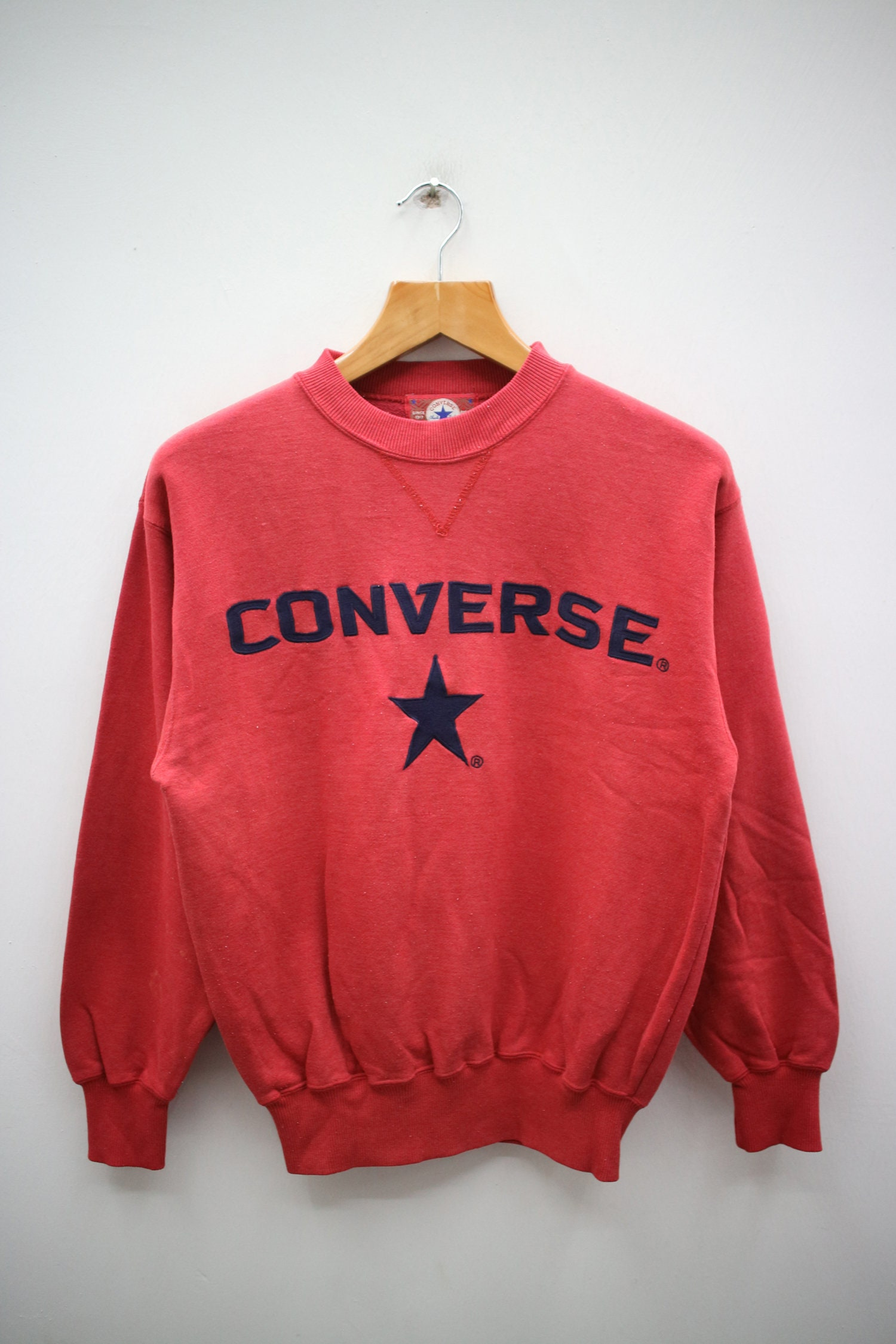 eecb731a01e9f Vintage CONVERSE All Star Chuck Taylor Big Spell Big Logo Streetswear Red  Pullover Sweater Sweatshirt Size S