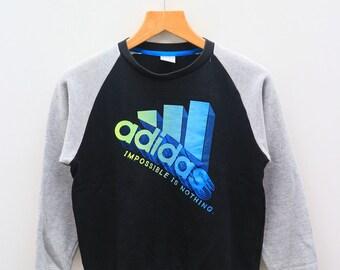 Vintage ADIDAS Impossible Is Nothing Sportswear Black Sweater Sweatshirt Size M