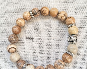 10MM Brown Picture Jasper Mens' Bracelet with silver accents