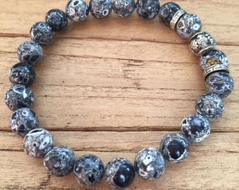 10mm Black, Gray and White Mosaic Turquoise Mens' Bracelet