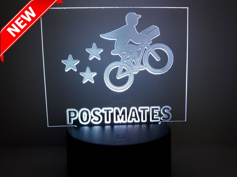 Postmate sign RGB COLOR Car Deluxe sign Acrylic engraving Multi Touch Color  Base remote
