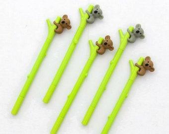 5adf0493bb03 4 Pc Cute Koala Loves Bamboo Gel Pens ~ Koala Pens