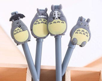 4 Pc Set My Neighbor Totoro Gel Pens ~ Cute Kawaii Pen, Japanese Cartoon, School Supplies, Stationery, Planner Accessories, Gift for Kids