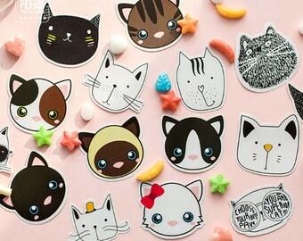 45 Pc Pk Cat Kingdom Decorative Mini Stickers Cute Cartoon Etsy