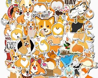 Kawaii Cute Welsh Corgi Waterproof Stickers 50 Pc Pack ~ Dog Stickers, Puppy Stickers, Funny Animals Sticker, Laptop Sticker, Dog Lover Gift