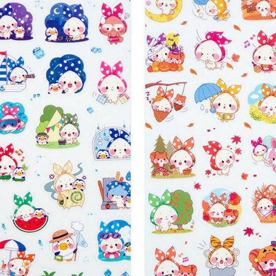 Cute Funny Decorative Sticker Set 6 Sheets Lovely Scarf Cartoon Animal Stickers