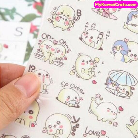 6 Feuilles Kawaii Mamegoma Mignon Bébé Phoque Stickers Décoratifs Dessin Animé Autocollants Vie Marine Papeterie Bricolage Scrapbooking