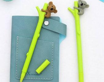 4 Pc Kawaii Koala Loves Bamboo Gel Pens ~ Cute Koala Bear Pens, Stationery, Novelty, Planner Accessories, Cartoon Zoo Animals Pens, Gift