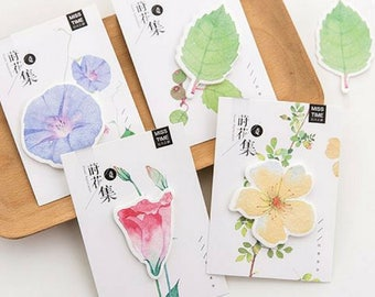 2 Pc Creative Leaf & Flower Sticky Notes ~ Cute Kawaii Memo Pad, Stationery, Flowers Leaves Notebook, Office Supplies, DIY Collage Scrapbook