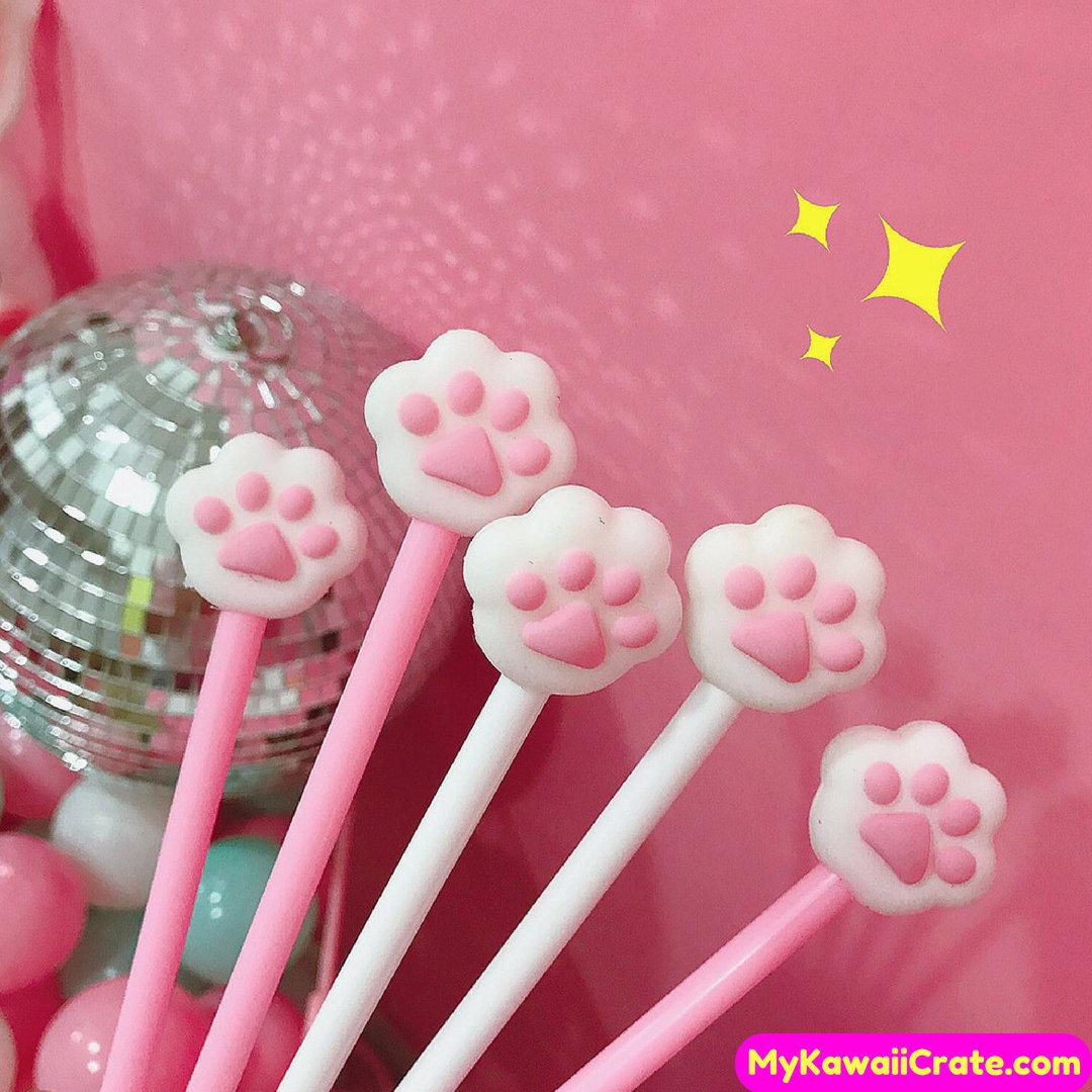2 Pc Cute Cat Paw Gel Pens Kawaii Pen Novelty Pen Cats | Etsy