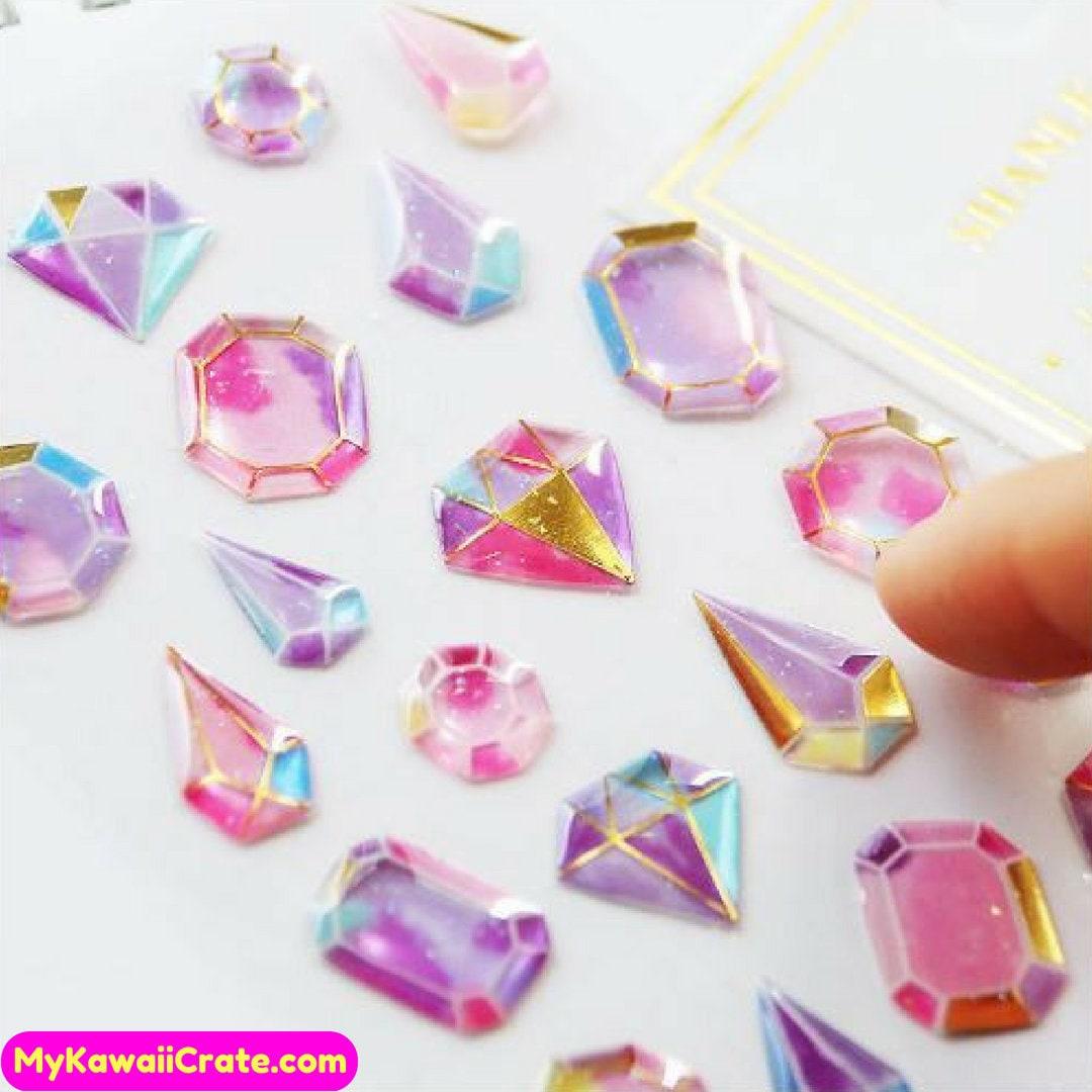 Kawaii Gilding Diamonds 12D Stickers ~ Cute Stickers, Crystal Gemstones  Diamond Shape Decorative Stickers, Scrapbook Journal Planner Sticker