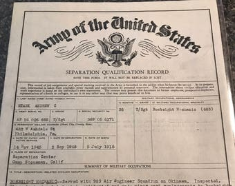Army of the United States 1948 Letter