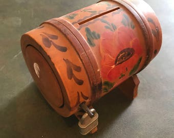 Vintage Wood Barrel Bank