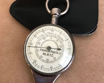 Vintage American Map Co. Map Measuring Device with Case