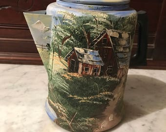 Hand Painted Coffee Pot