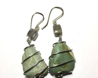 Green Beach Rocks Wrapped with Labrodite