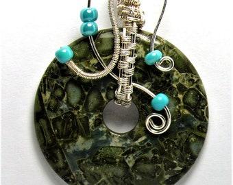 Silver Wire Wrapped Brecciated Jasper Gemstone Pendant Necklace