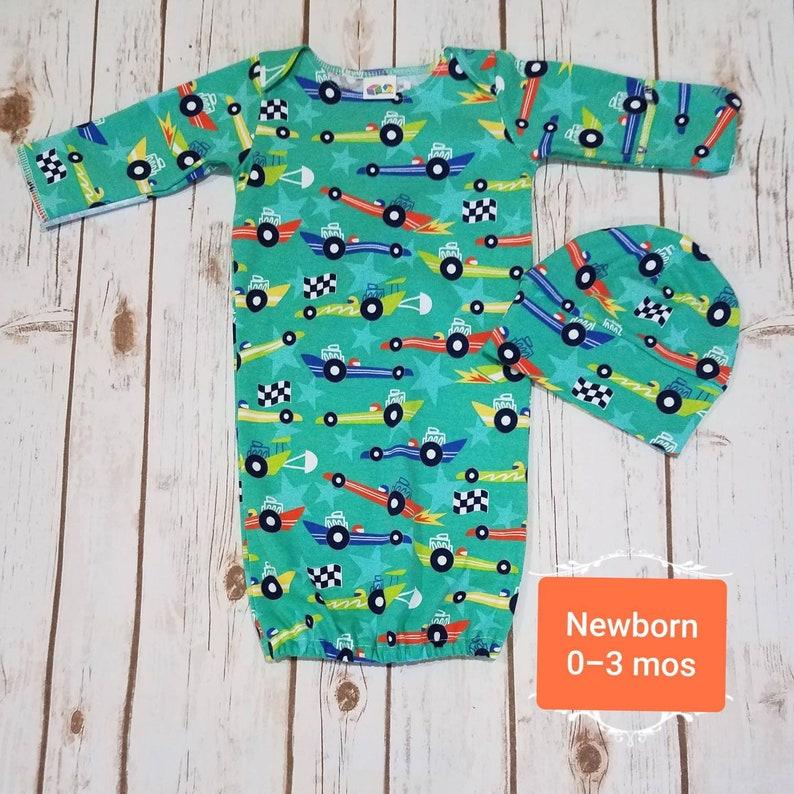359193878 Baby Boy Newborn Sleep Gown and baby beanie hat baby boy | Etsy