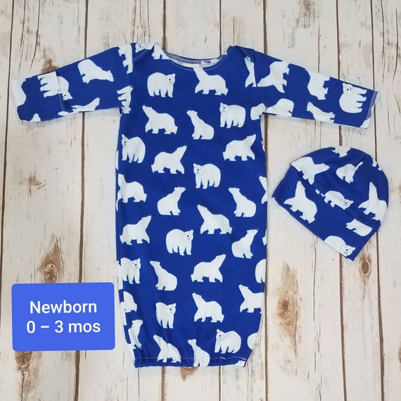Newborn Baby Boy Sleep Gown and baby beanie hat baby going  96f26a590c5a