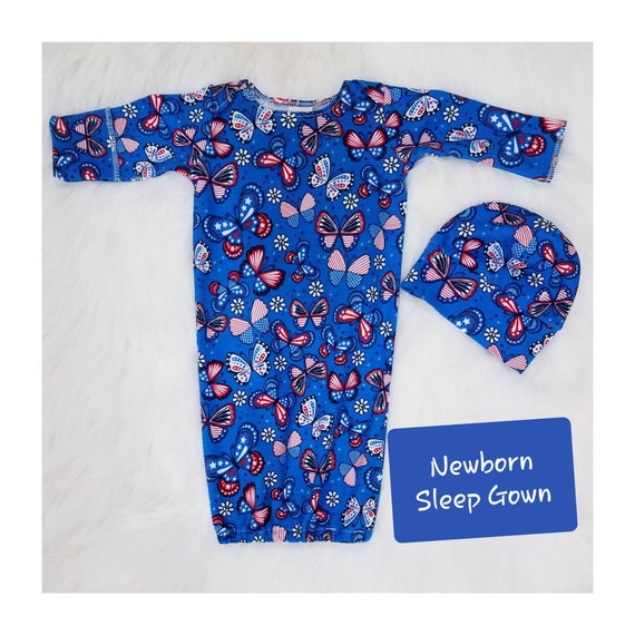 Newborn Baby Gown Take Home Outfit Baby Shower Gift Unisex Infant Sleeper Gender Neutral Coming Home Outfit Elastic Bottom Sleep Sack