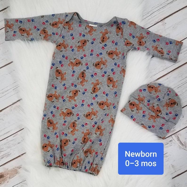 ee60df649 Puppy Newborn Sleep Gown beanie hat baby nightgown baby | Etsy