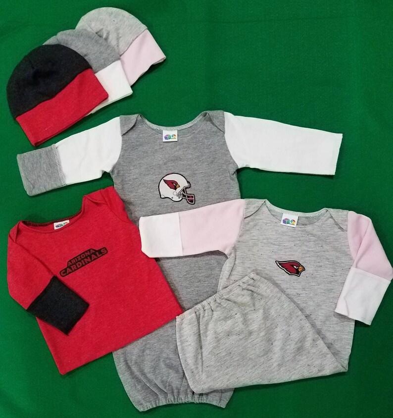 57833b66 Arizona Cardinals Baby Newborn Sleep Gown with beanie, baby layette, baby  sleep sack, baby nightgown, infant gown, baby sleeping bag
