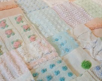 Cotton Patchwork Quilt Squares DIY Dollhouse Decor Assorted Prints 9 Piece 10 Vintage Chenille Bedspread Fabric Squares DIY Baby Lovie