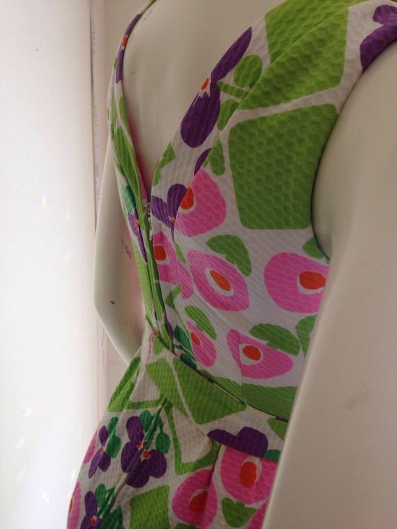 Vintage hawaiian pink purple green maxi dress 196… - image 3
