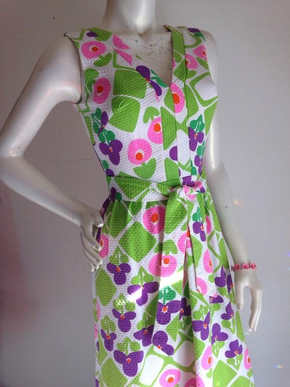 Vintage hawaiian pink purple green maxi dress 196… - image 1
