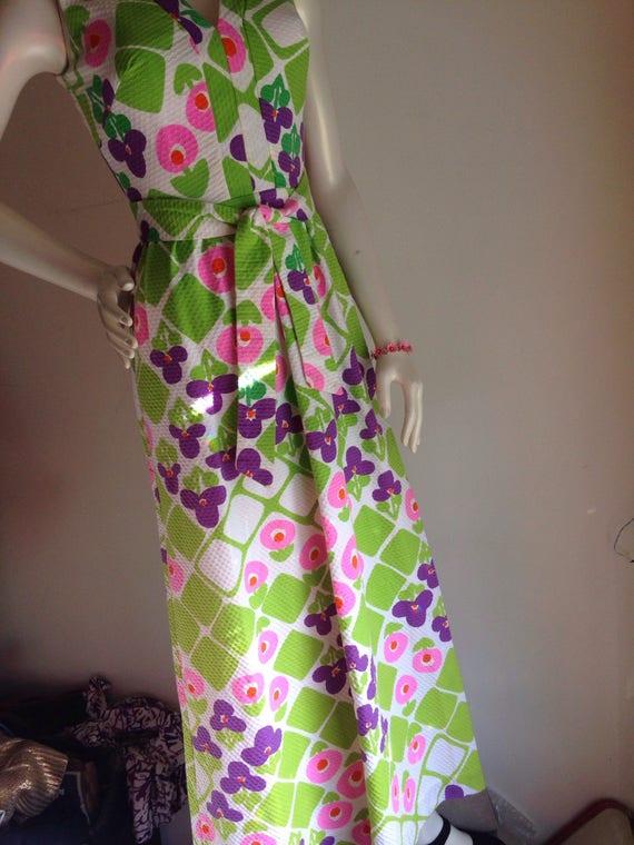 Vintage hawaiian pink purple green maxi dress 196… - image 4