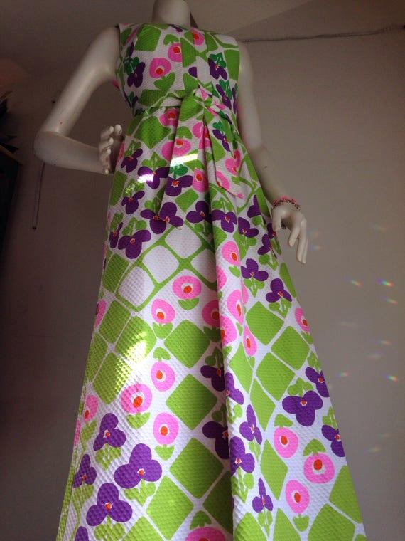 Vintage hawaiian pink purple green maxi dress 196… - image 2