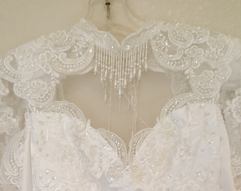 San Martin/Wedding dress/ Bridal gown/High collar/Dangling beads/Long sleeve/Shiny white/Size 4/LDS