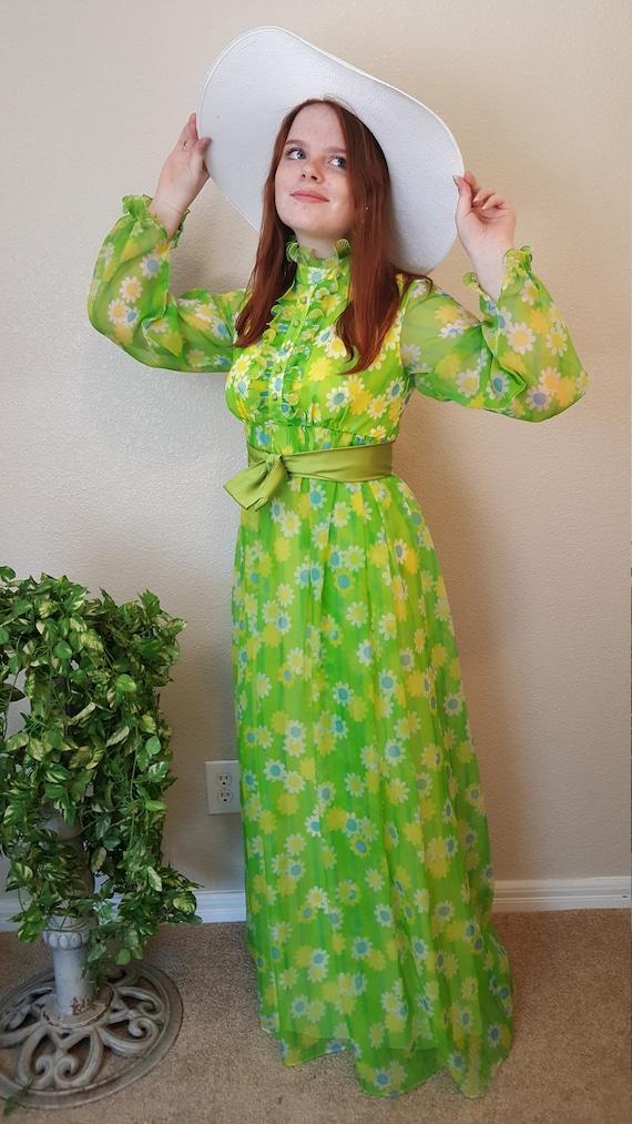f503fb0d9a9 Long floral maxi dress long sleeves Chiffon formal dress Prom