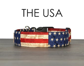 e1759acf Fourth of July Dog Collar, Patriotic Dog Collar, Red White and Blue, Made  in America Collar, American Flag Collar for Dogs, USA Dog Collars