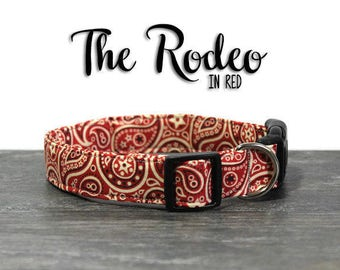 Western Dog Collar, Red Paisley Collars, Paisley Collar for Dogs, Red Dog Collars, Girl Dog Collars, Boy Dog Collars, Cowboy Dog Collar, Dog