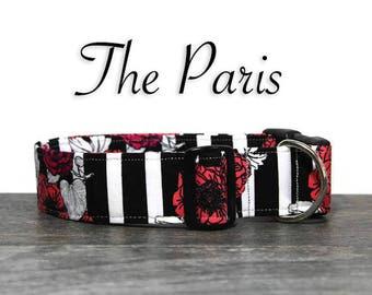 Poppy Dog Collar, Beautiful Floral Collar, Collar for Girl Dog, Feminine Dog Collar, Striped Dog Collar, Classy Pet Collar, Custom Collar