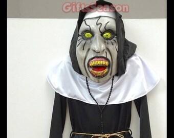 inspired halloween the nun costume 2018 kid child girl costume cosplay valak demon nun with free latex mask