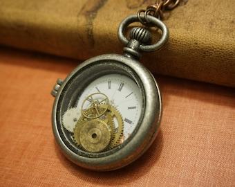 Steampunk Pocket Watch Pendant Necklace, jewelry, vintage