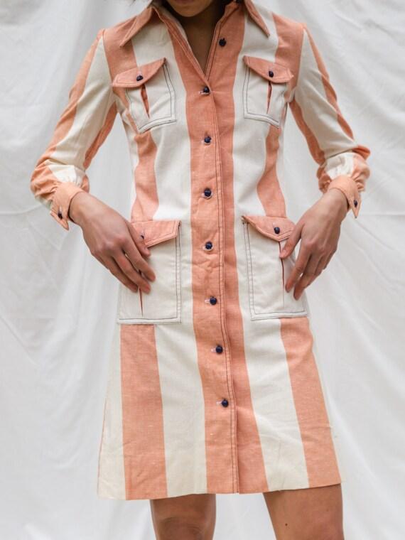 Vintage 70s Mini Button Down Dress - image 2