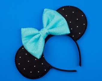 Black and Blue Mouse Ear Headband